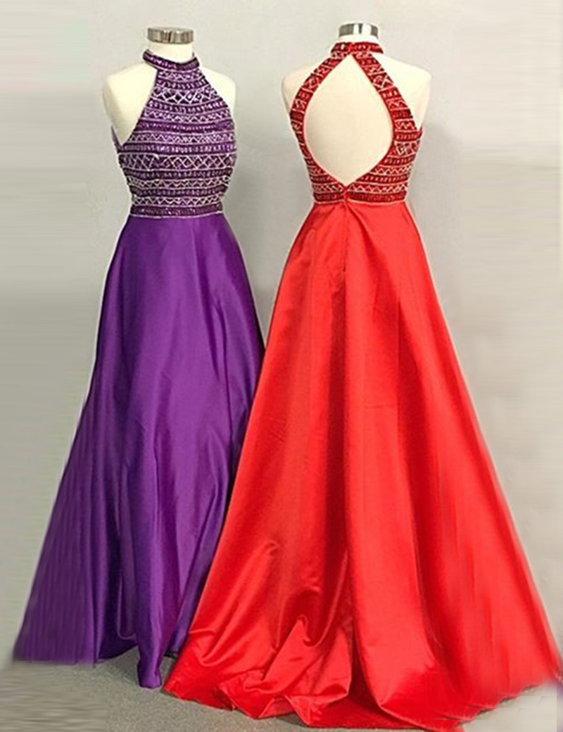 A-Line High Neck Open Back Long Red/Purple Prom Dress with Beading, Purple;red
