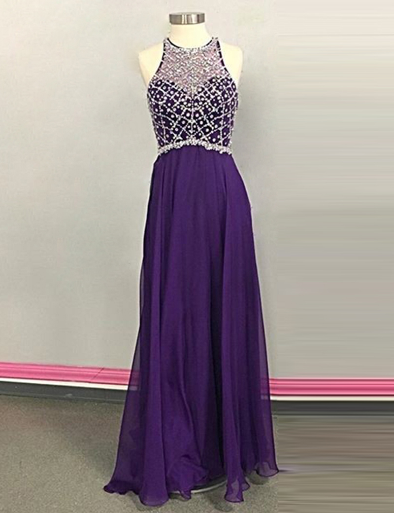A-Line Jewel Sleeveless Illusion Back Long Purple Prom Dress with Beading