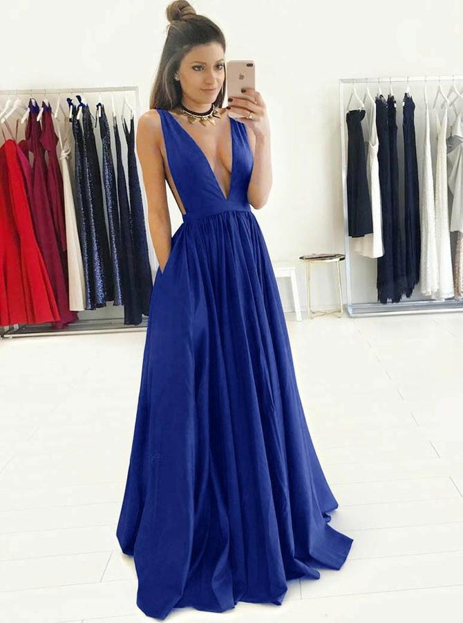 Simple-dress / A-Line Deep V-Neck Floor-Length Royal Blue Taffeta Prom Dress with Pockets
