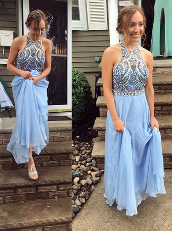 A-Line Halter Floor-Length Light Blue Chiffon Prom Dress with Beading фото