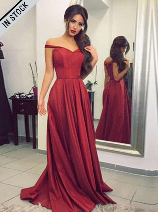 Simple-dress / A-Line Off-the-Shoulder Sweep Train Burgundy Prom Dress with Pleats
