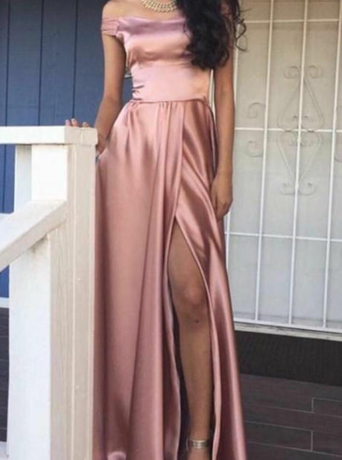 A-Line Off-the-Shoulder Pink Elastic Satin Prom Dress with Split