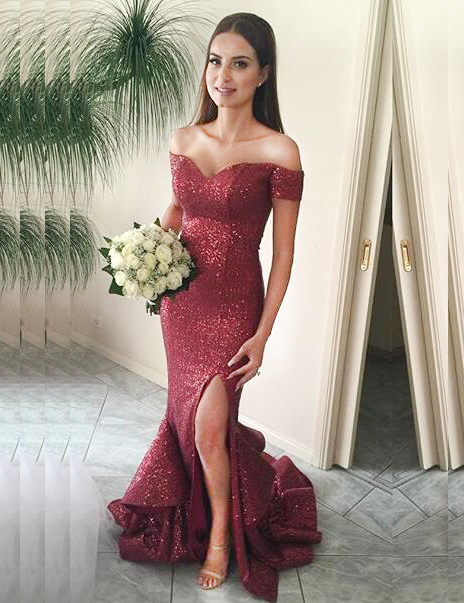 Mermaid Off-the-Shoulder Sweep Train Red Sequined Prom Dress with Ruffles фото