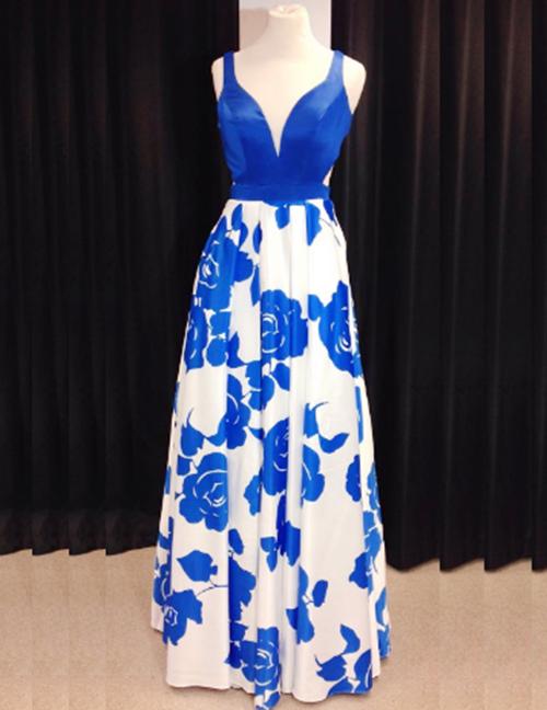 Simple-dress / A-Line Scoop Floor-Length Open Back Printed Royal Blue Prom Dress