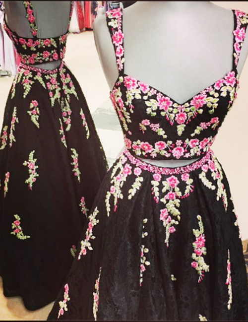 Two Piece Square Floor-Length Black Lace Prom Dress with Appliques фото
