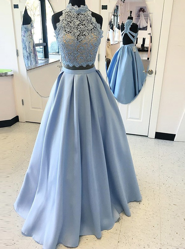 Two Piece High Neck Blue Satin Prom Dress with Lace Cut-Out фото