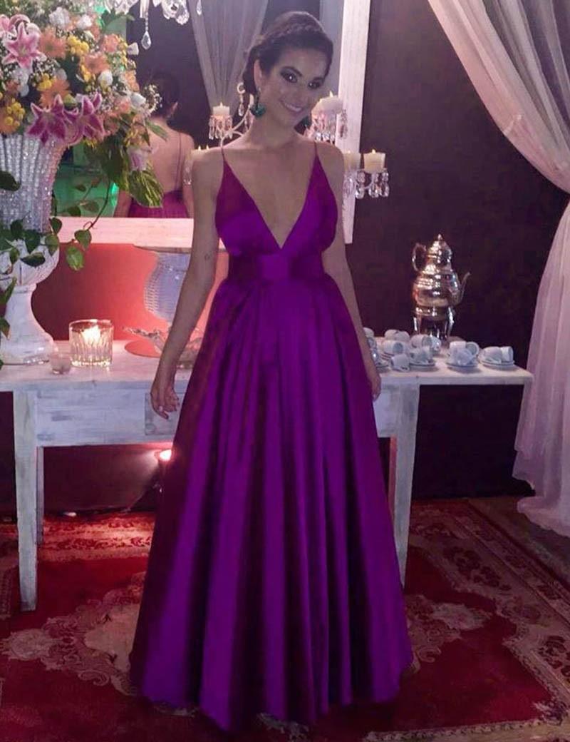 A-Line Deep V-Neck Floor-Length Backless Grape Stretch Satin Prom Dress фото