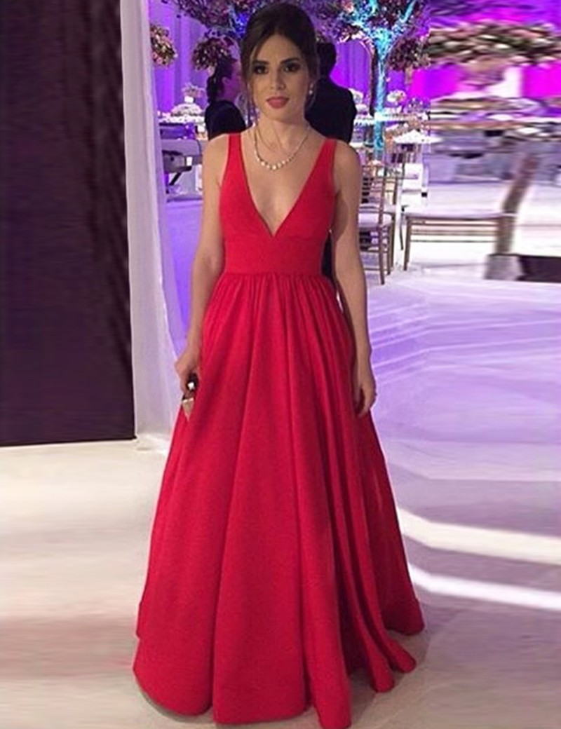 Simple-dress / A-Line Deep V-Neck Floor-Length Backless Red Satin Prom Dress with Bowknot