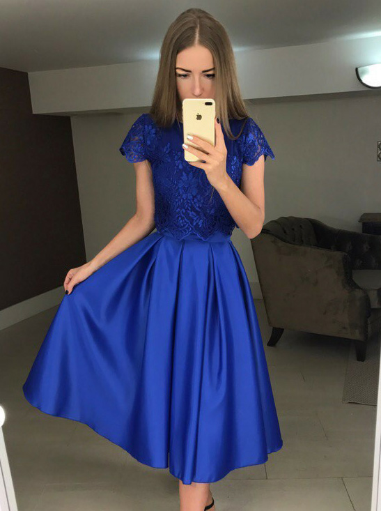 Two Piece Bateau Blue Satin Homecoming Dress with Lace фото