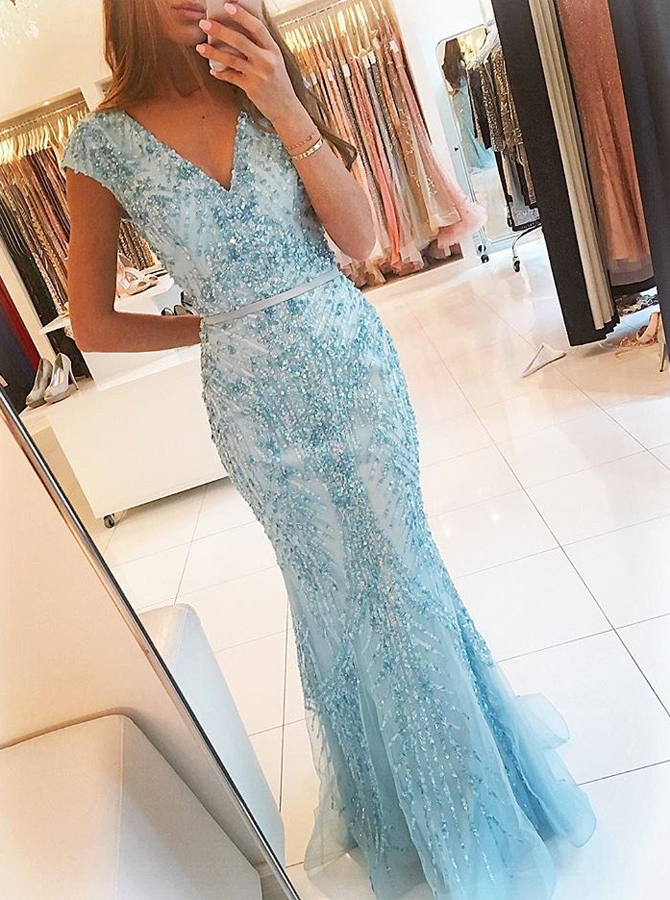 Mermaid V-Neck Cap Sleeves Blue Tulle Prom Dress with Sash Beading фото