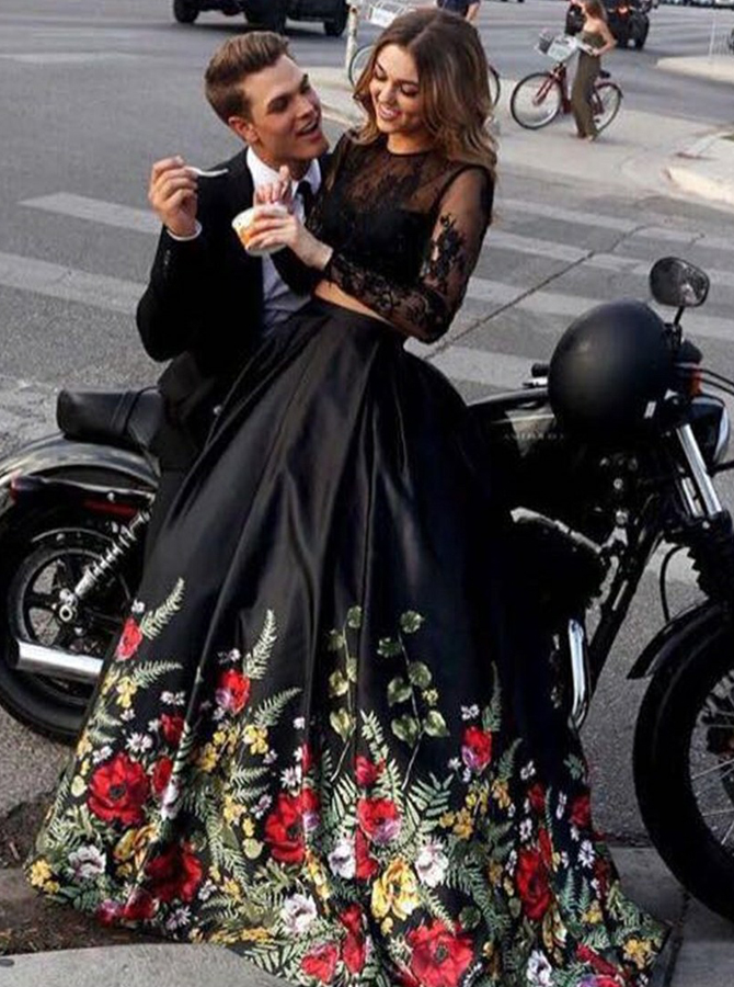 Two Piece Round Neck Open Back Printed Black Satin Prom Dress with Lace фото