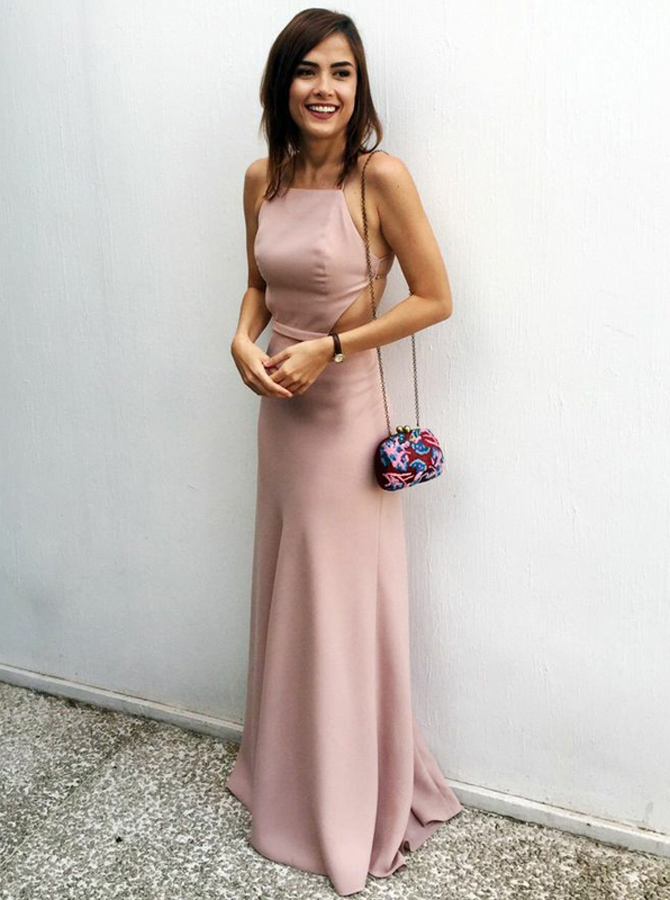 Simple-dress / Sheath Spaghetti Straps Backless Blush Prom Dress