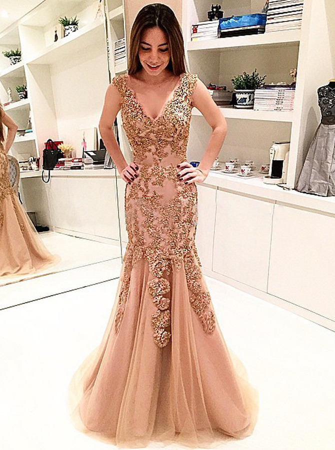 Simple-dress / Mermaid V-Neck Sweep Train Champagne Tulle Prom Dress with Appliques