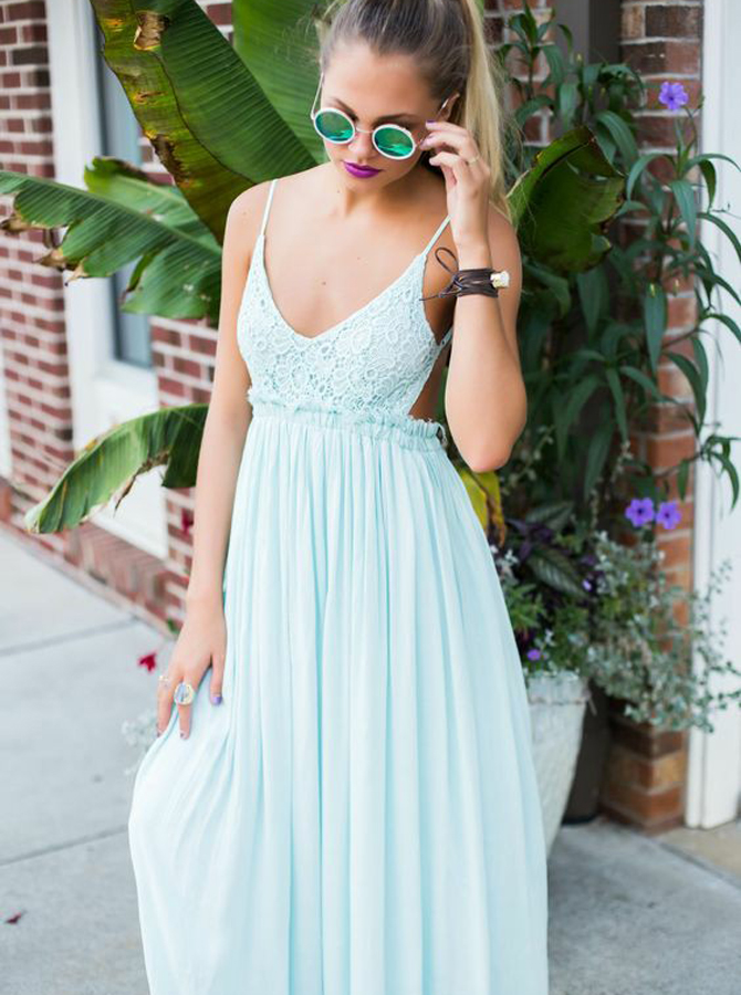 Simple-dress / A-Line Spaghetti Straps Backless Mint Green Chiffon Prom Dress with Lace