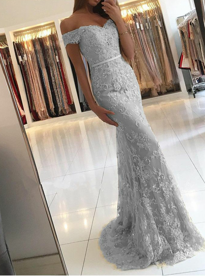 Mermaid Off-the-Shoulder Light Gray Lace Prom Dress with Appliques Sequins фото