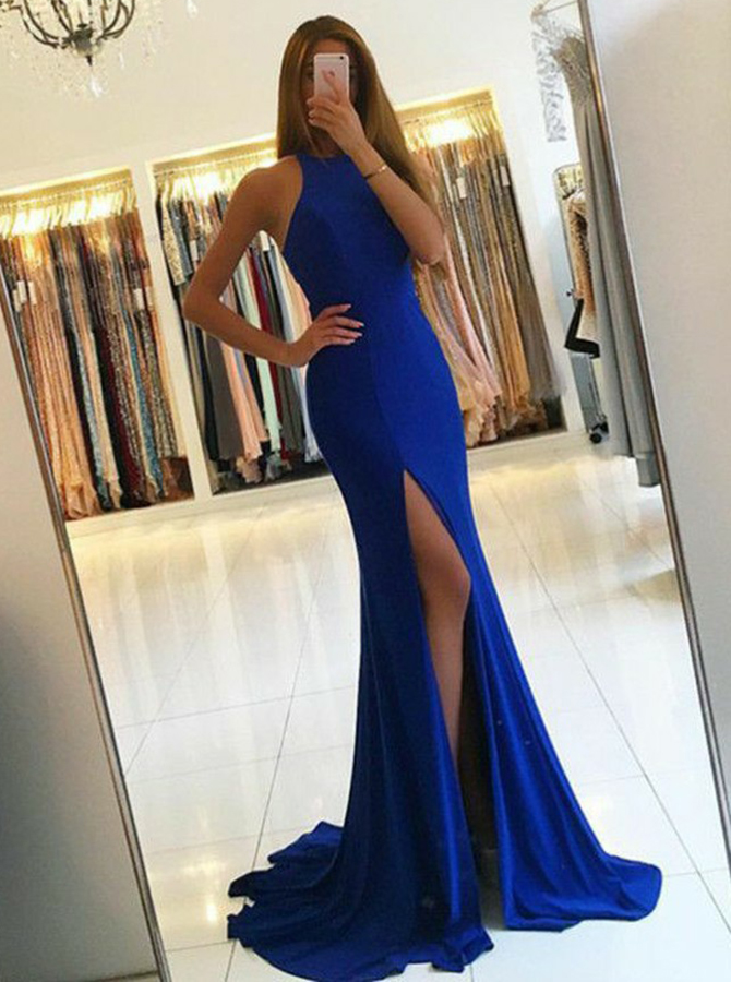 Simple-dress / Mermaid Round Neck Royal Blue Elastic Satin Prom Dress with Split Cut Out