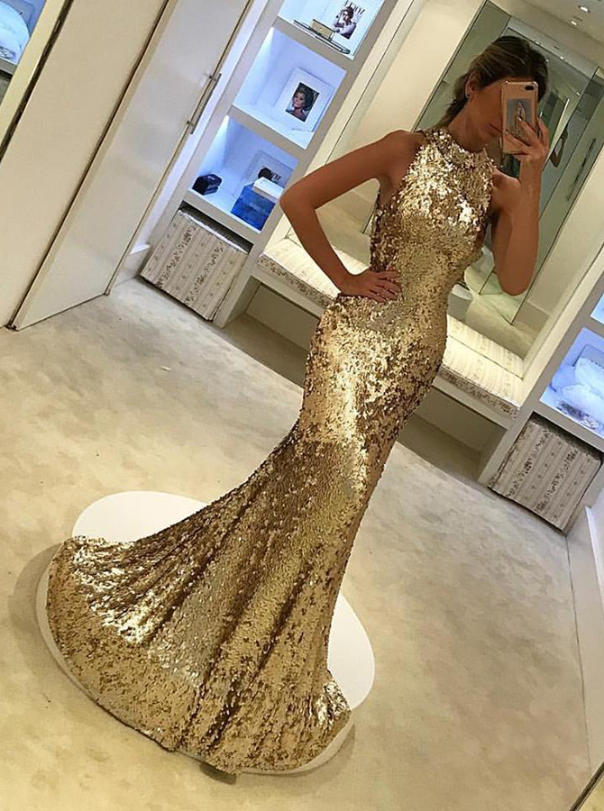 Mermaid Round Neck Sweep Train Champagne Sequined Prom Dress фото