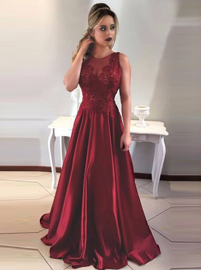 A-Line Round Neck V-Back Maroon Satin Prom Dress with Lace фото