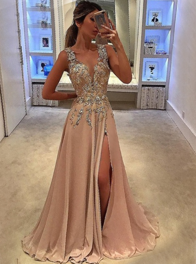 Simple-dress / A-Line Deep V-Neck Sweep Train Champagne Chiffon Prom Dress with Appliques