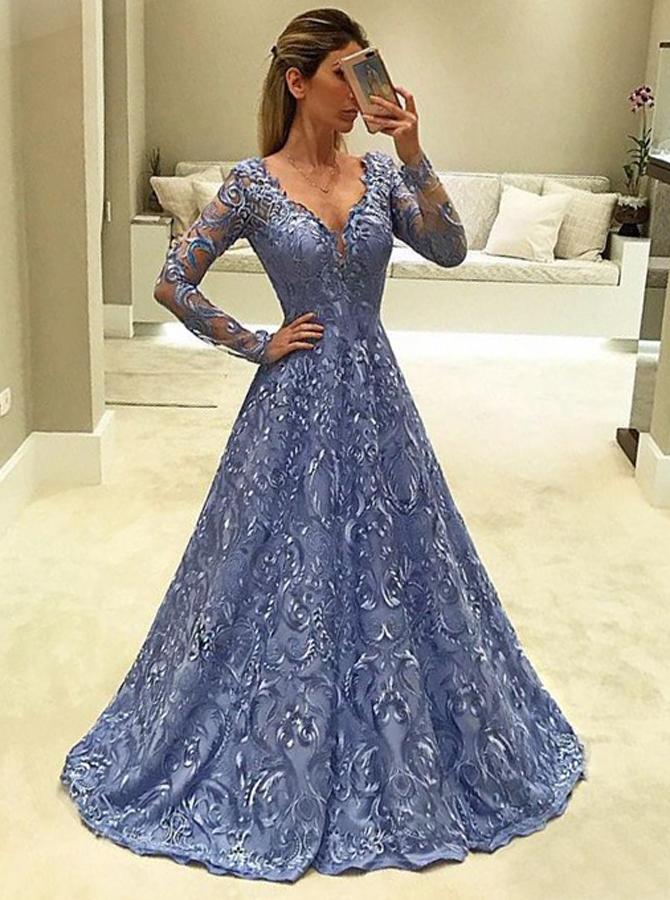A-Line V-Neck Long Sleeves Light Sky Blue Lace Prom Dress фото