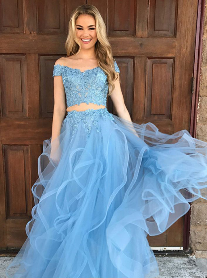 Simple-dress / Two Piece Off-the-Shoulder Sky Blue Tulle Prom Dress with Appliques