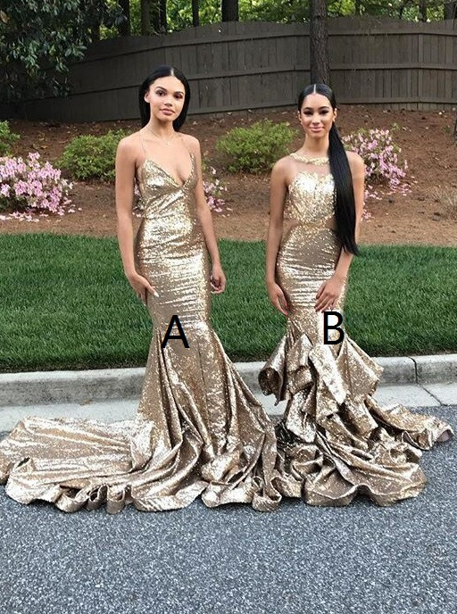 Mermaid Halter Backless Sweep Train Champagne Sequined Prom Dress