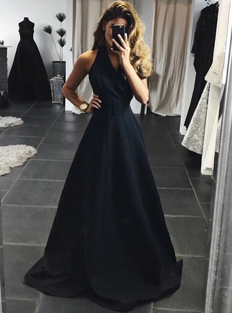 A-Line Halter Backless Sweep Train Black Satin Prom Dress фото