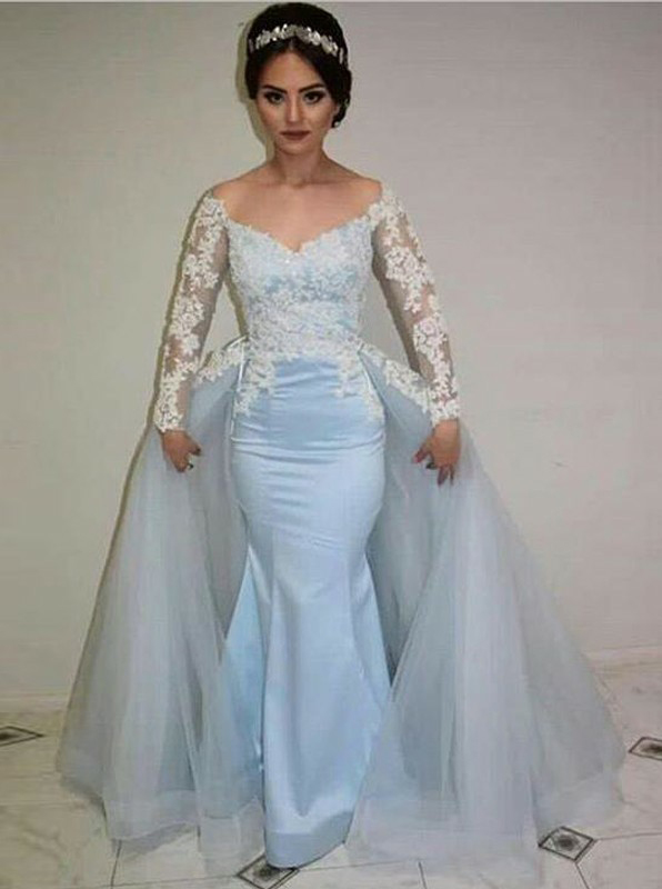 Mermaid Illusion Round Neck Appliques Blue Prom Dress with Detachable Train фото