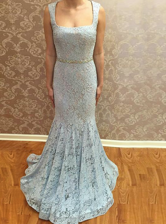 Mermaid Square Neck Sweep Train Blue Lace Prom Dress with Beading фото