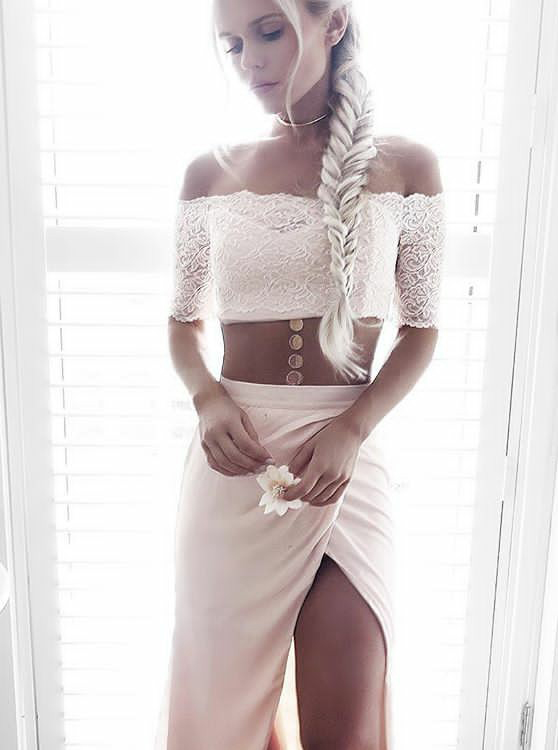 Two Piece Strapless Half Sleeves Pearl Pink Prom Dress with Lace