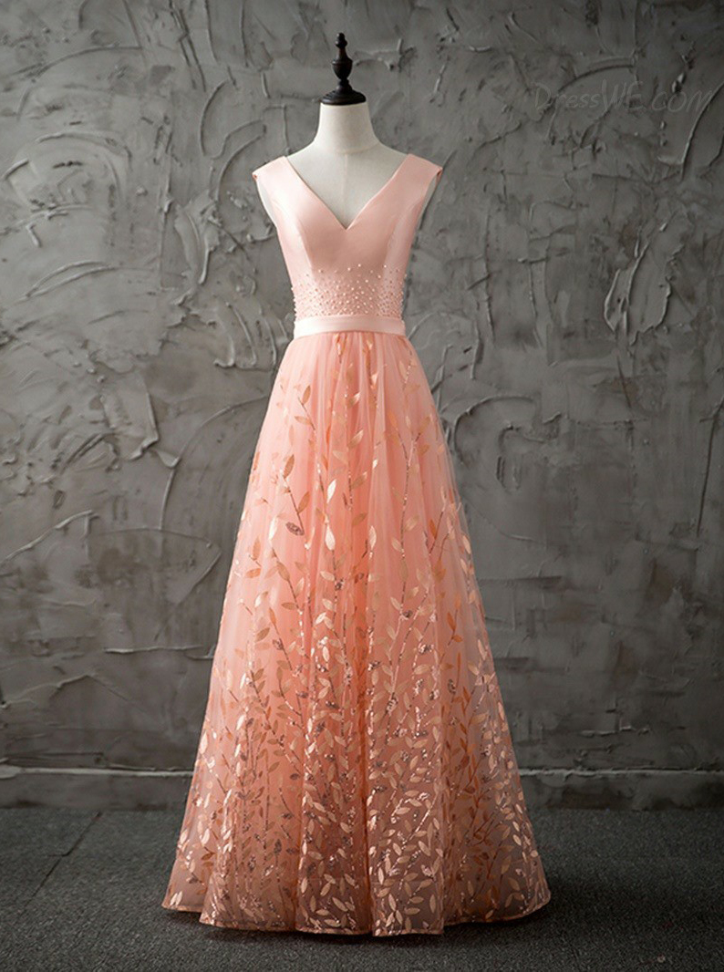 A-Line V-Neck Floor-Length Peach Lace Prom Dress with Beading фото