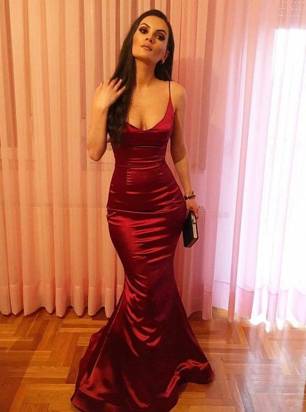 Mermaid Spaghetti Straps Floor-Length Burgundy Prom Dress фото