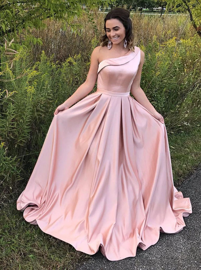 A-Line One Shoulder Pleated Pink Satin Prom Dress with Ruffle фото