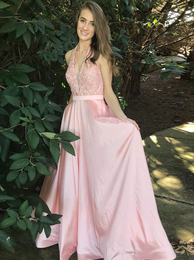 Simple-dress / A-Line Halter Floor-Length Pink Satin Prom Dress with Sash Lace
