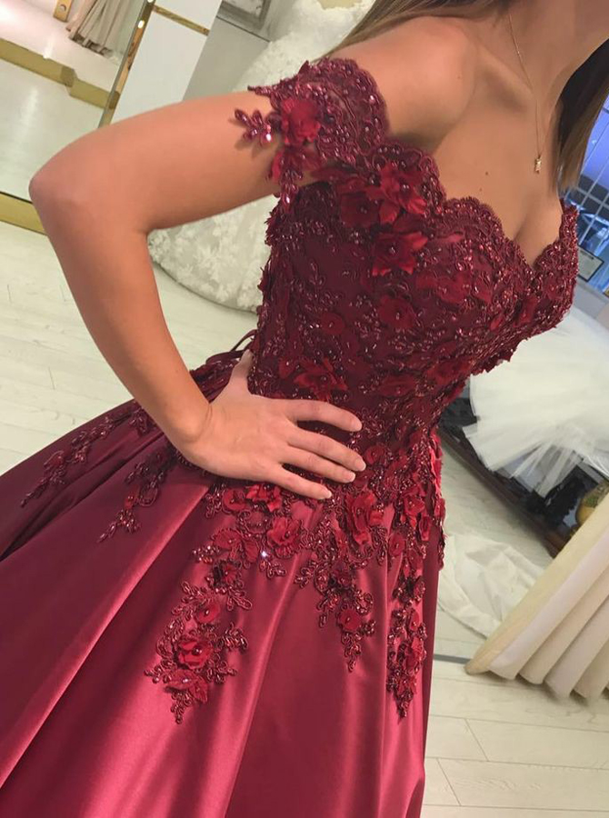 Ball Gown Off-the-Shoulder Dark Red Prom Dress with Beading Appliques фото