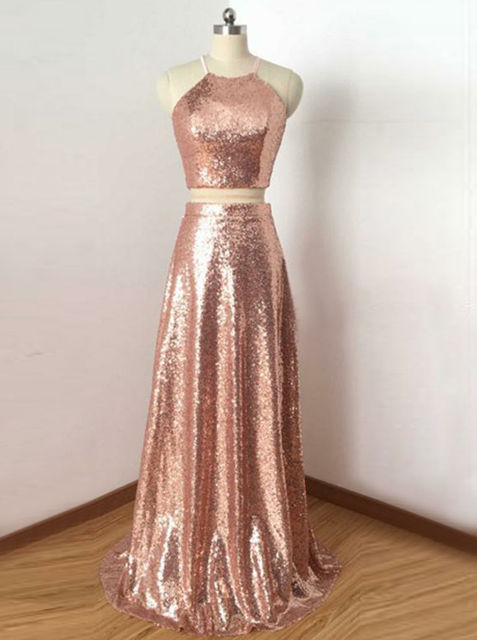 Two Piece Round Neck Rose Gold Open Back Sequined Prom Dress