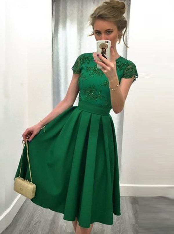 Simple-dress / A-Line Round Neck Cap Sleeves Short Green Satin Appliques Prom Dress