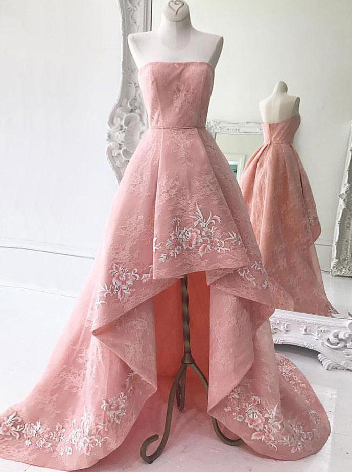 High Low Strapless Pink Pleated Lace Prom Dress with Appliques фото