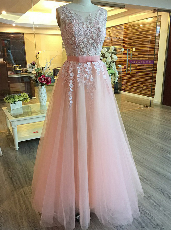 A-Line Bateau Open Back Pearl Pink Tulle Appliques Prom Dress with Pearls фото
