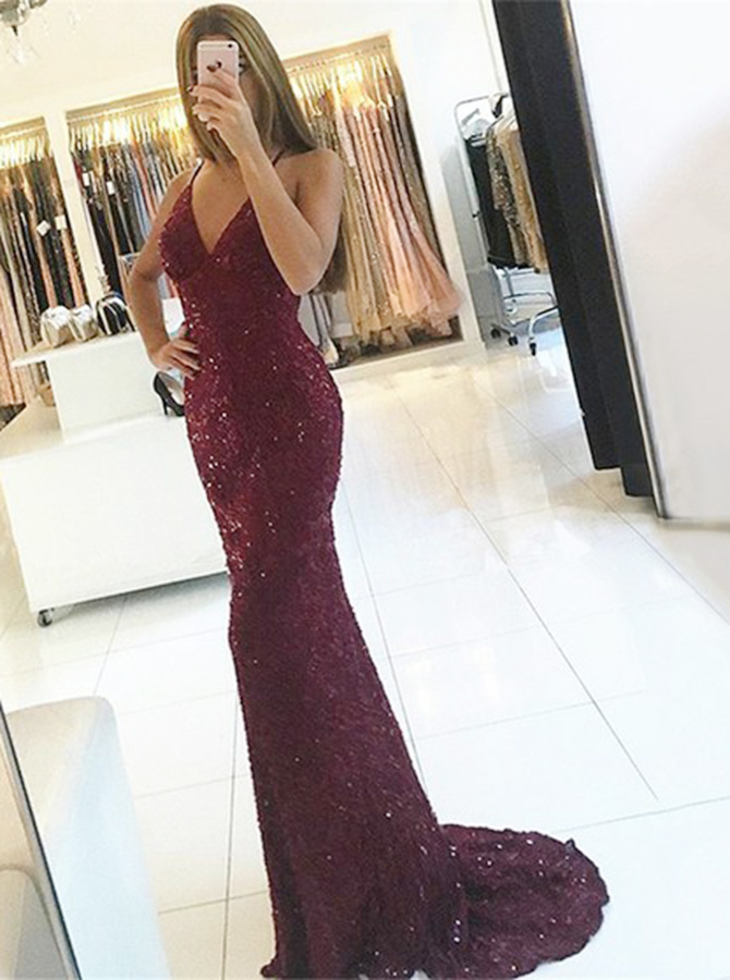 Mermaid Spaghetti Straps Backless Burgundy Lace Prom Dress with Sequins фото