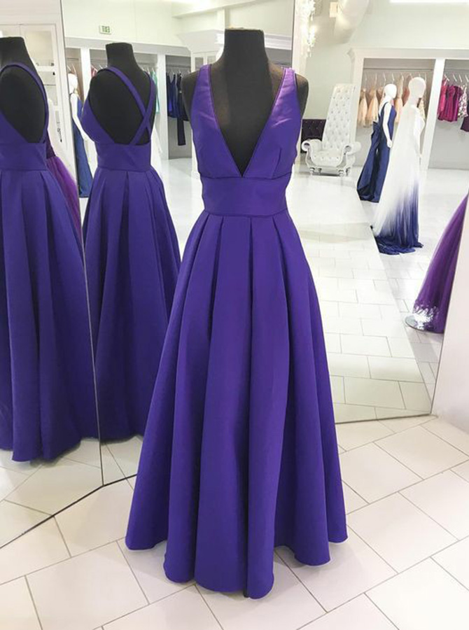 A-Line V-Neck Floor-Length Royal Blue Pleated Satin Prom Dress фото