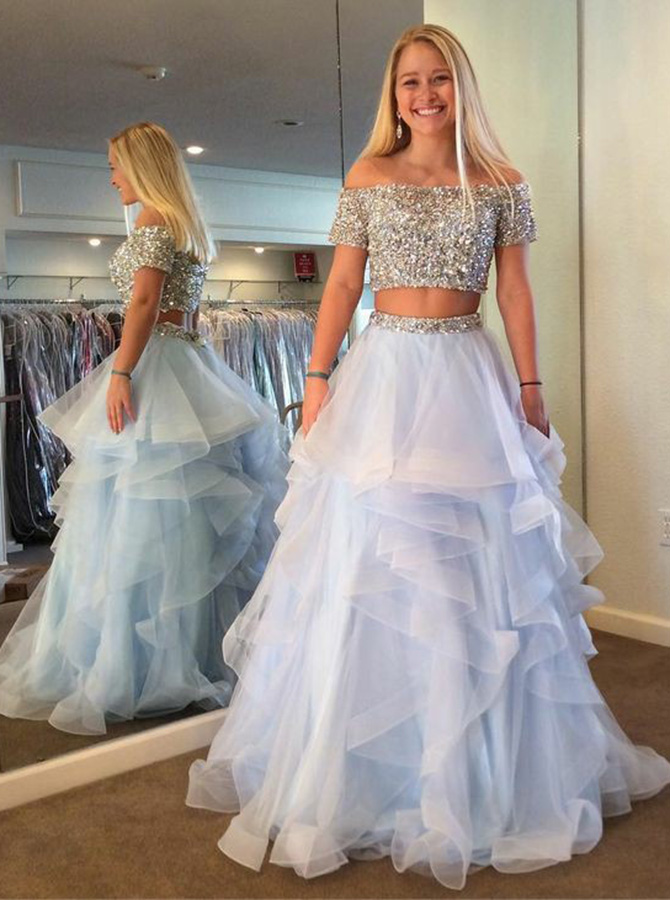 Simple-dress / Two Piece Off Shoulder Tiered Blue Tulle Prom Dress with Sequins Beading