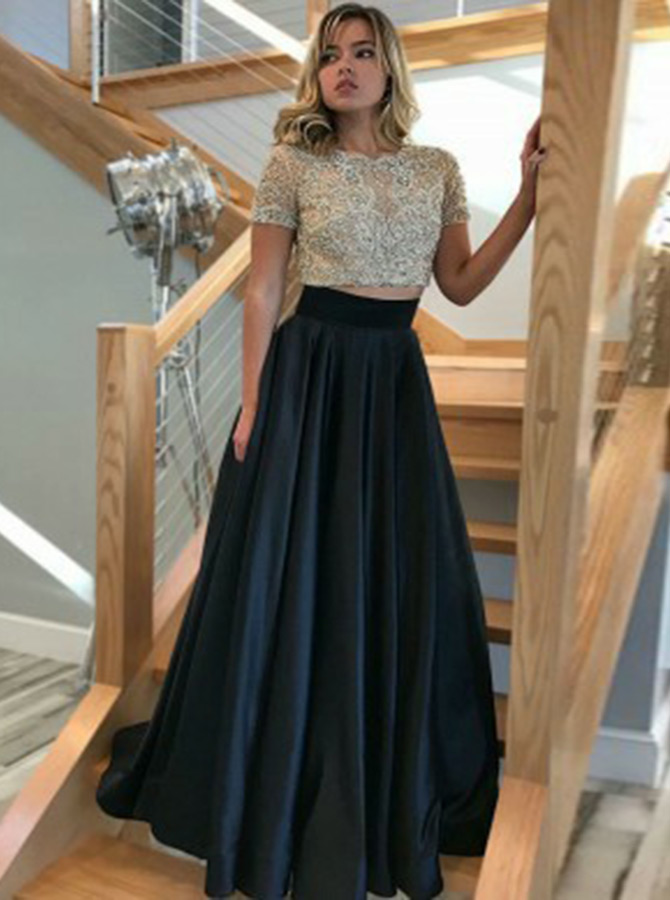 A-Line Round Neck Short Sleeves Black Satin Prom Dress with Beading фото