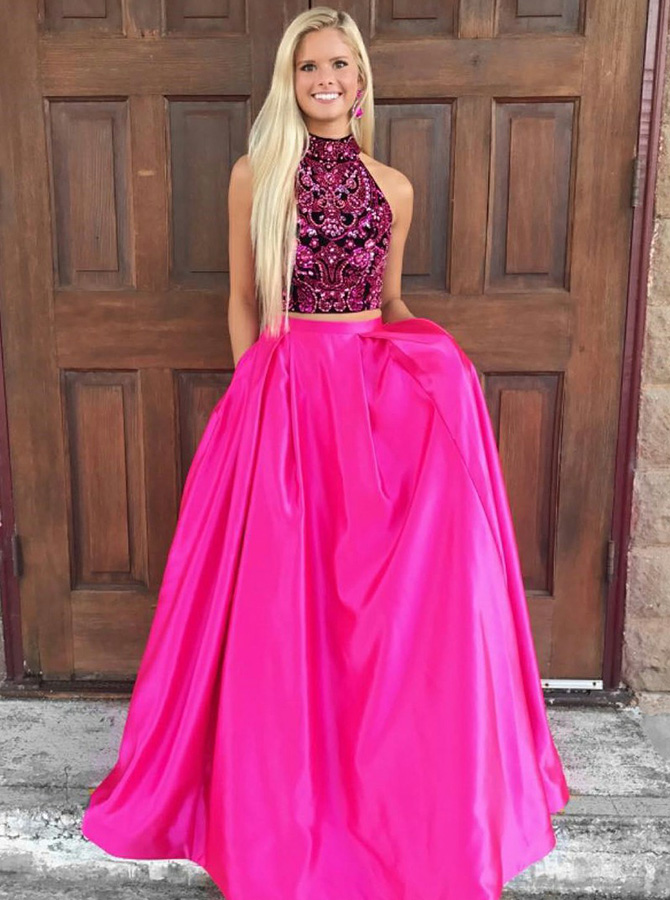 Two Piece High Neck Open Back Fuchsia Satin Prom Dress with Beading фото