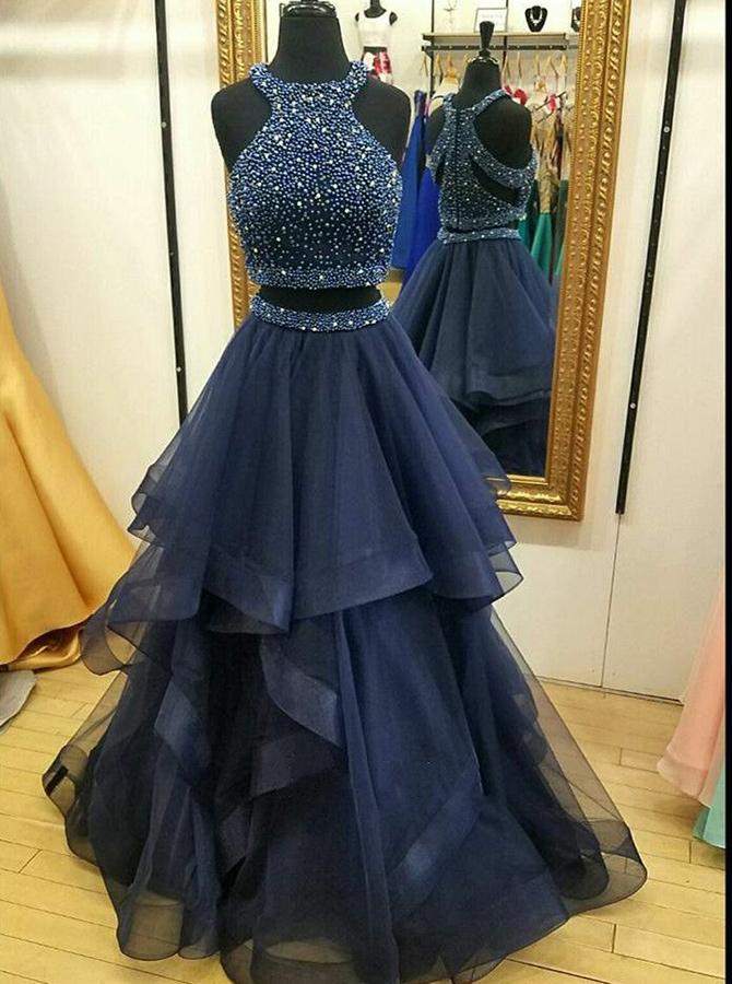Two Piece Round Neck Floor-Length Dark Blue Tulle Beaded Prom Dress фото