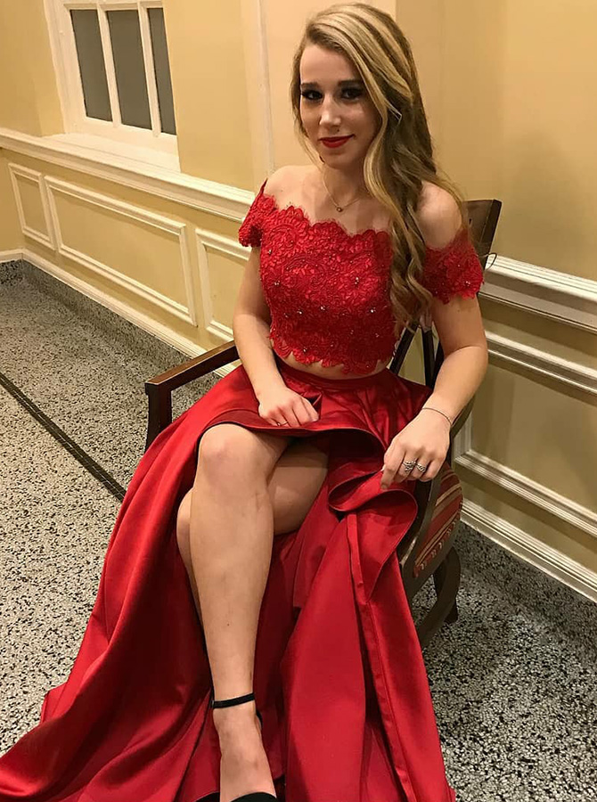 Two Piece Off-the-Shoulder High Low Red Satin Prom Dress with Lace Beading фото