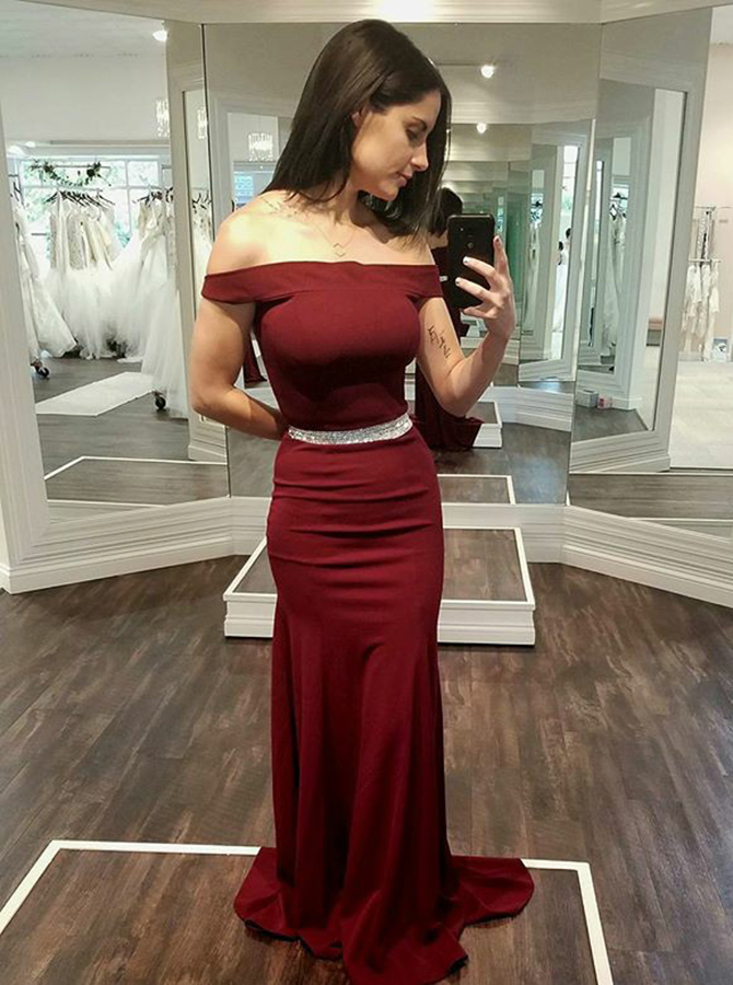 Sheath Off-the-Shoulder Dark Red Stretch Satin Prom Dress with Beading фото