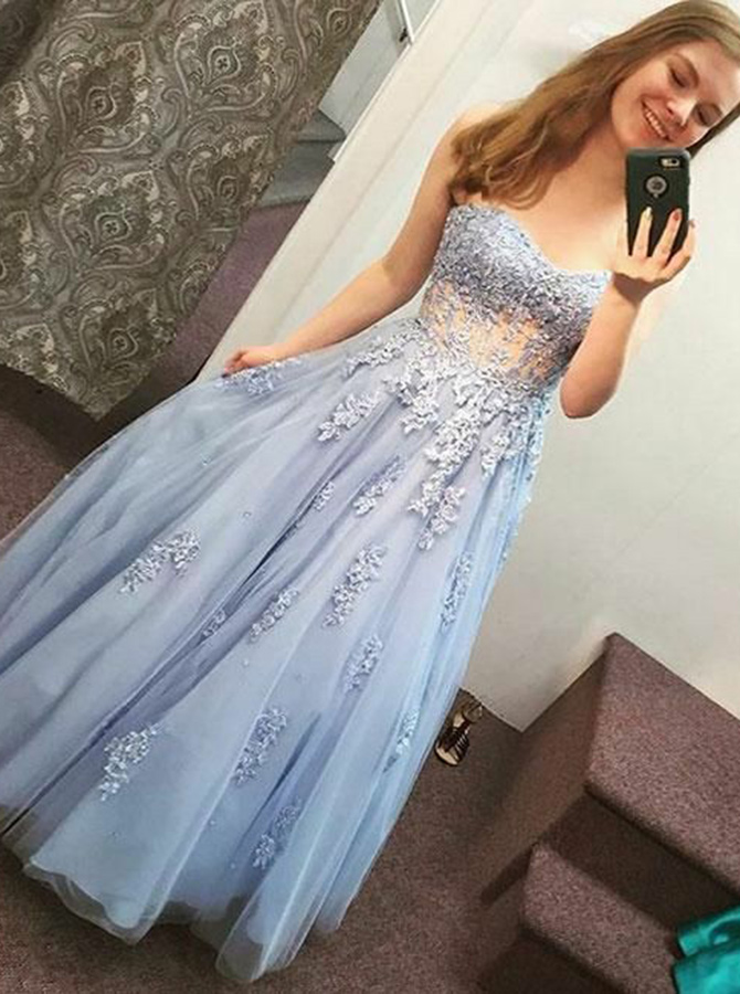 A-Line Sweetheart Light Blue Tulle Prom Dress with Appliques фото