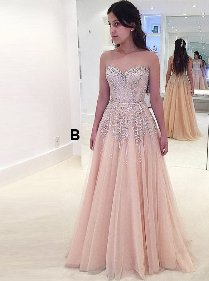 A-Line Sweetheart Pearl Pink Tulle Prom Dress with Beading фото