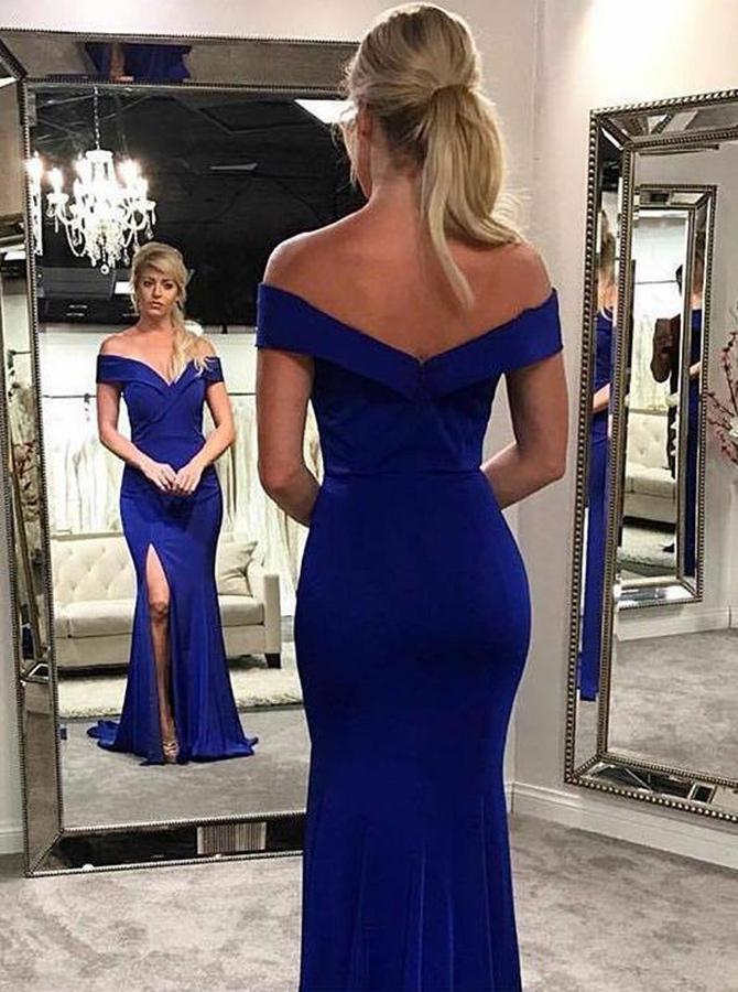 Mermaid Off-the-Shoulder Royal Blue Elastic Satin Prom Dress with Split